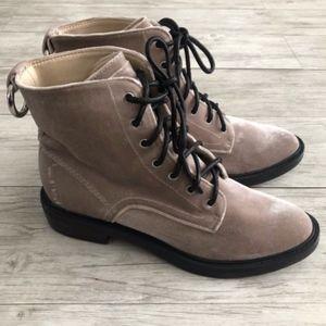 Dolce Vita Bardot Velvet Combat Boot Pewter